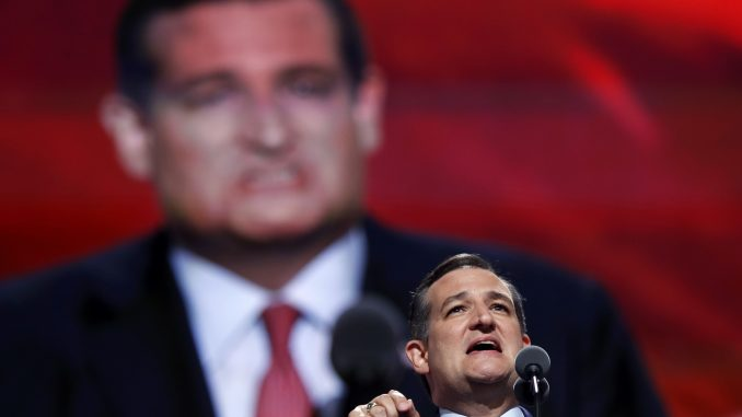 Ted Cruz speaking at the 2016 Republican National Convention.